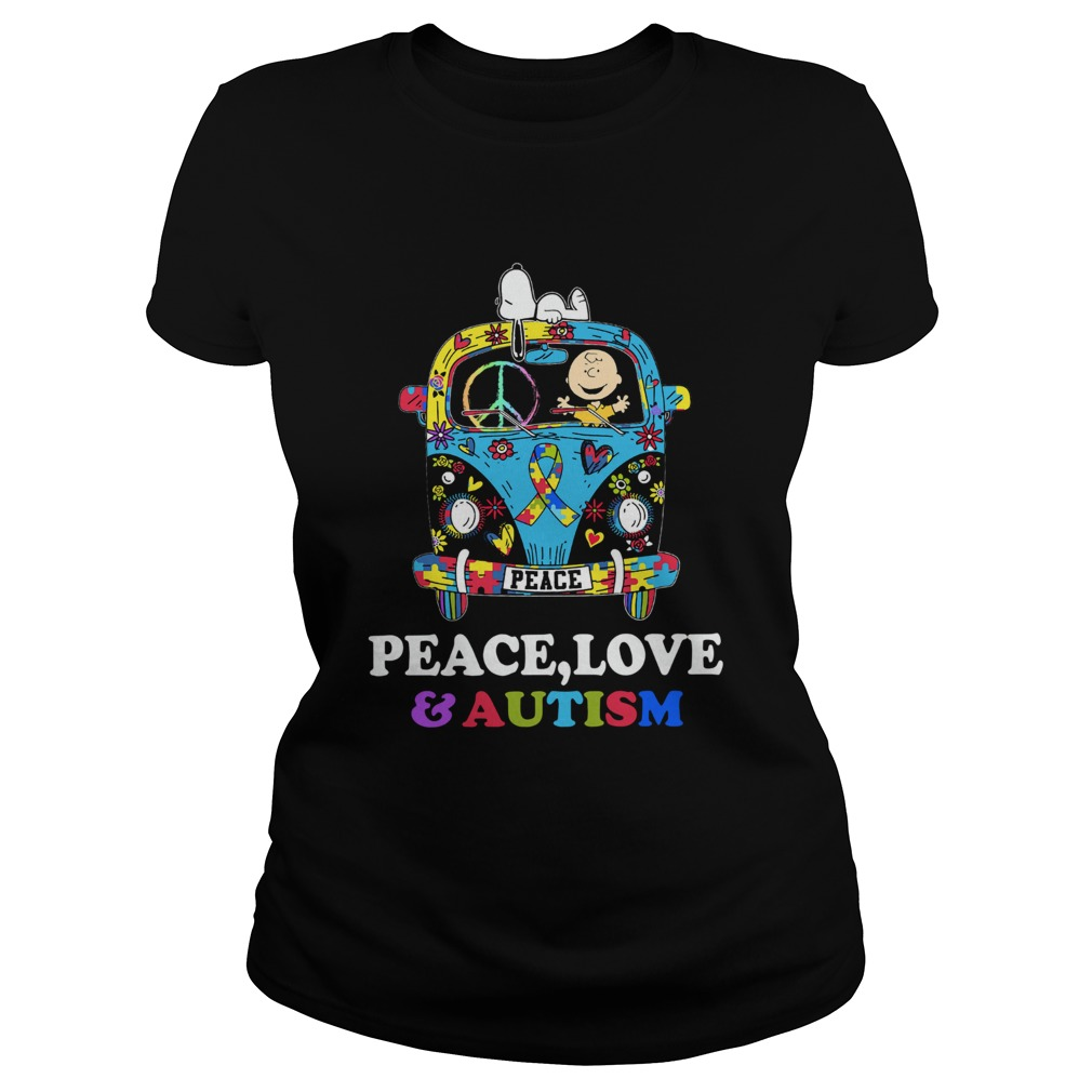 Snoopy And Charlie Brown Peace Love Autism  Classic Ladies