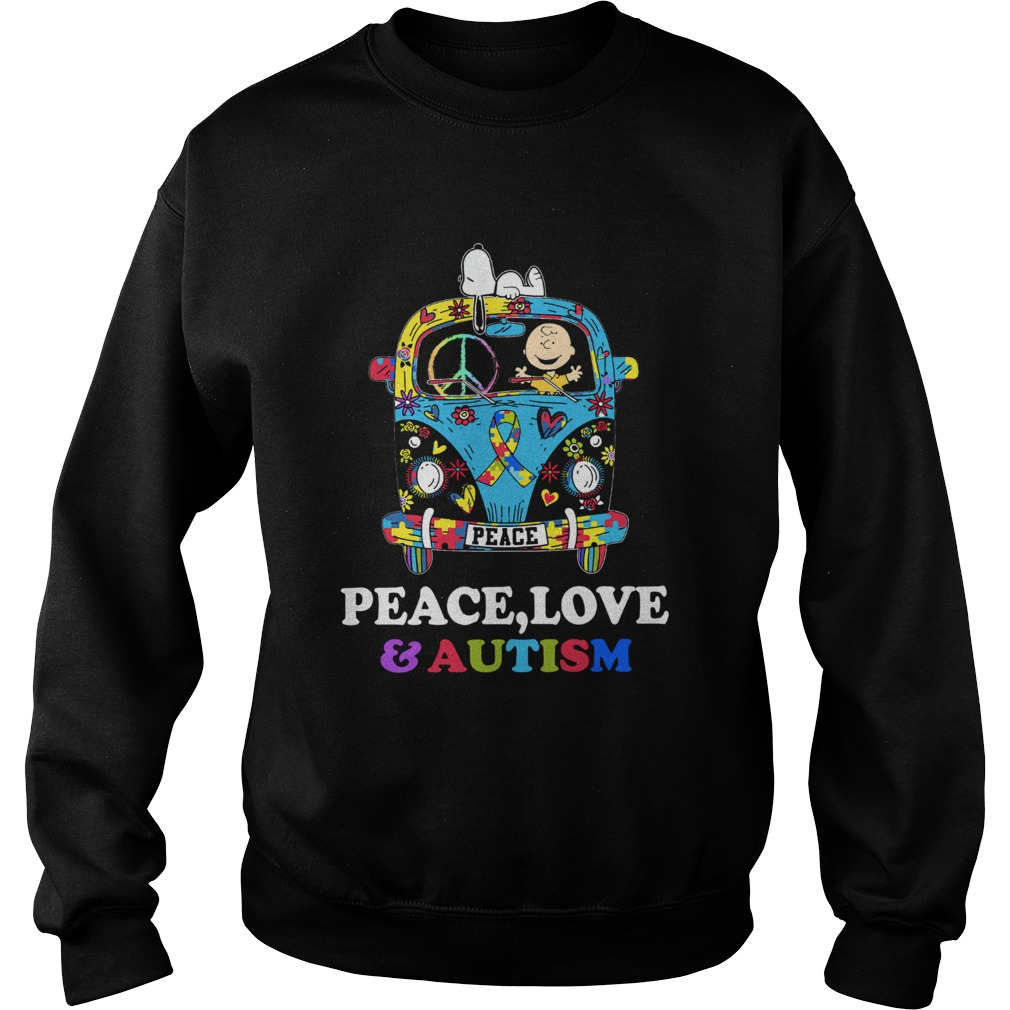 Snoopy And Charlie Brown Peace Love Autism  Sweatshirt