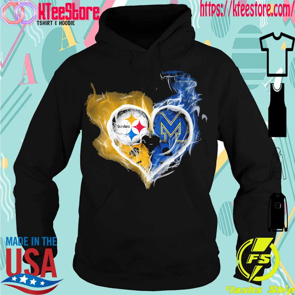 Steelers and Michigan Wolverines heart fire s Hoodie