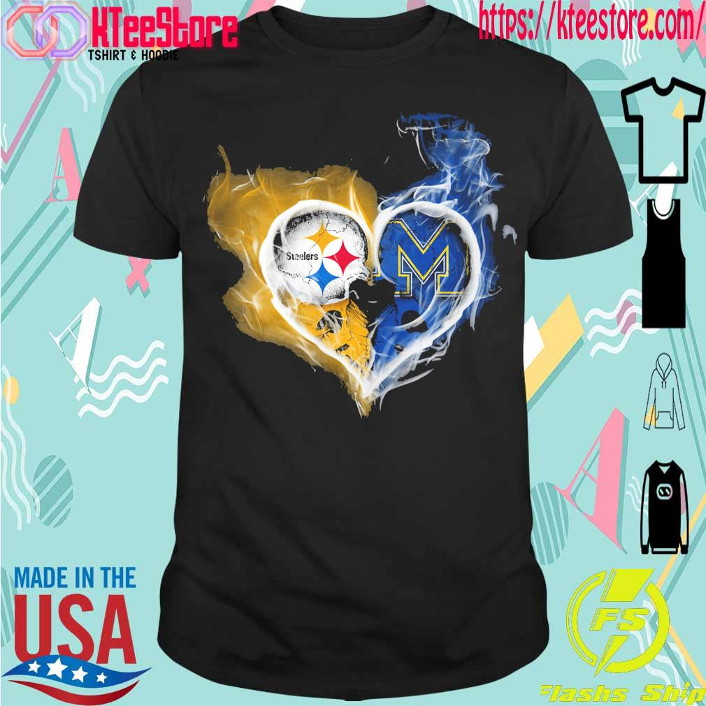 Steelers and Michigan Wolverines heart fire shirt
