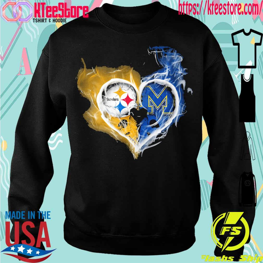 Steelers and Michigan Wolverines heart fire s Sweatshirt