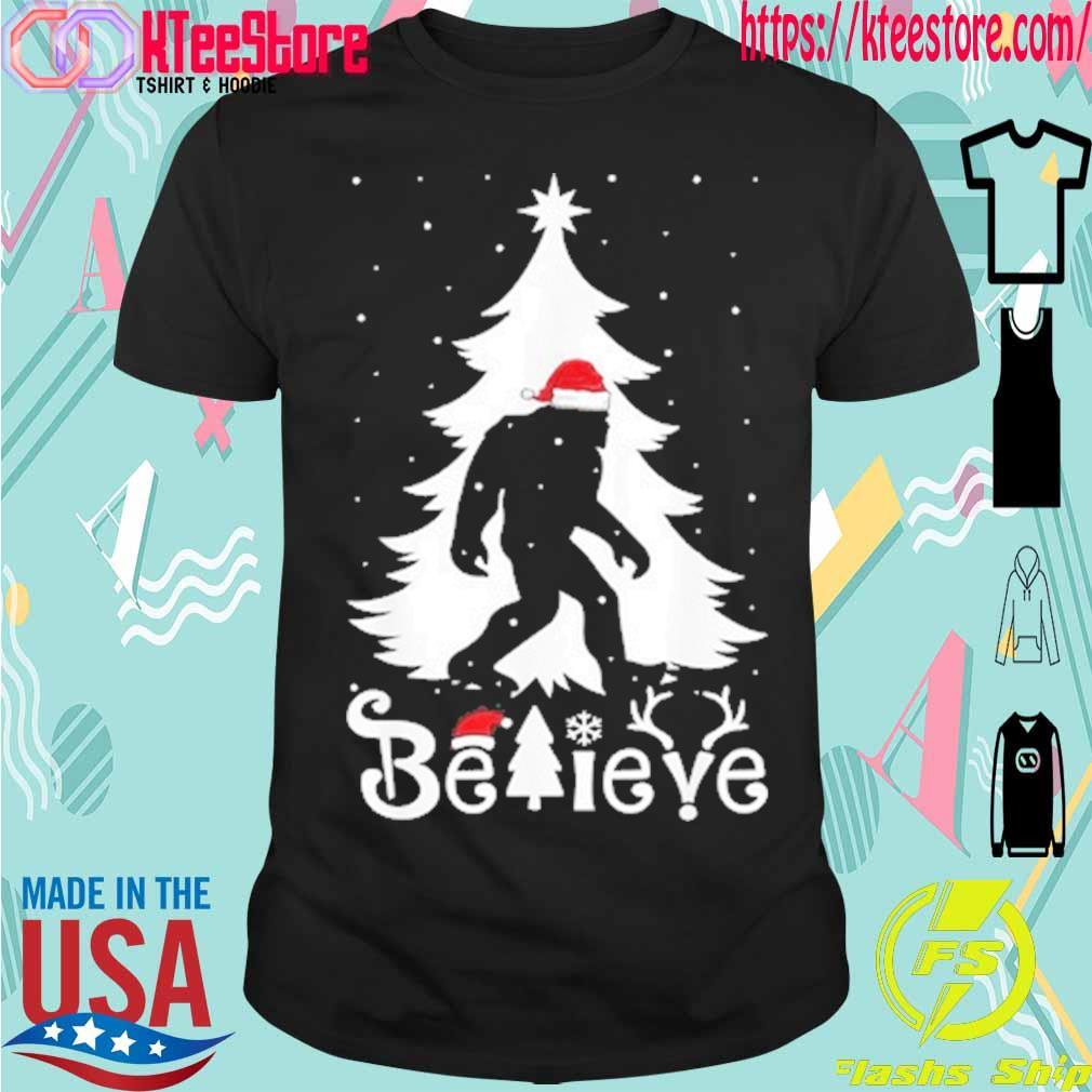 Santa Bigfoot believe Christmas shirt
