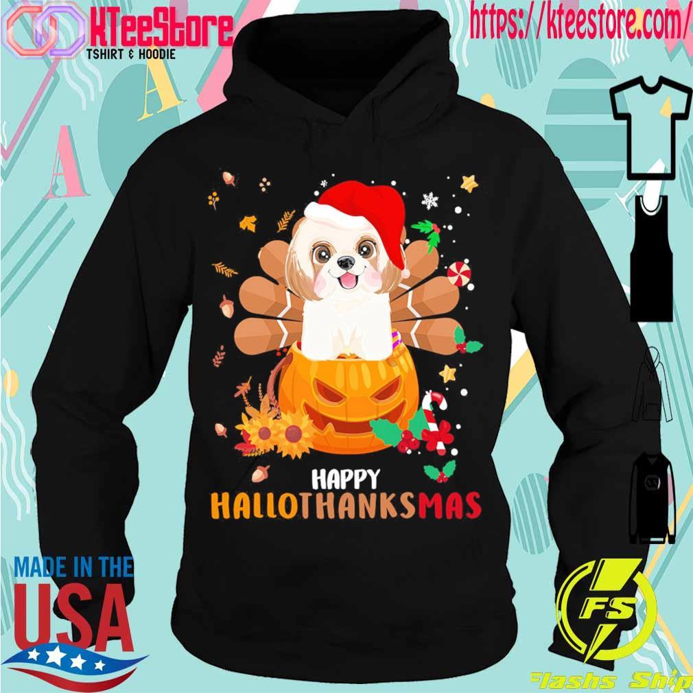 Santa Shih Tzu Pumpkin Happy Hallothanksmas s Hoodie